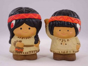 Gibson Greeting Cards Salt and Pepper Friends - Native American salt and pepper shakers